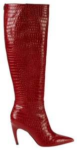 Sam Edelman Tall Stiletto Crocodile Red Boots
