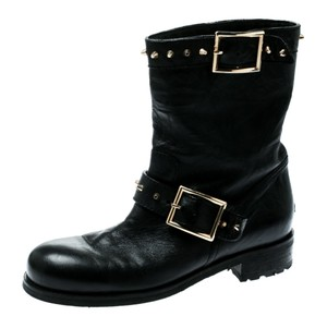 Jimmy Choo Leather Studded Black Boots