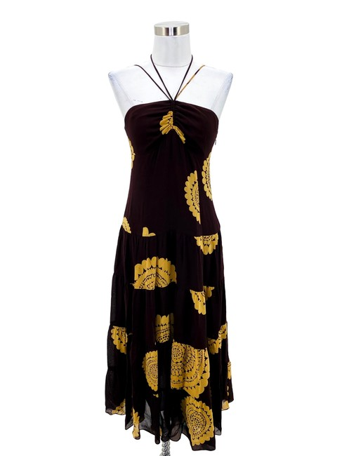 Item - Brown XS N469 Yellow Silk Halter Strap Long Casual Maxi Dress Size 2 (XS)
