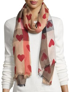 Burberry Beige red multicolor Burberry Heart Check print woven scarf