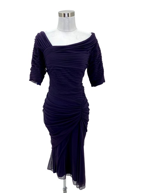 Item - Purple N4 Medium 10 Bodycon Ruffles Mid-length Formal Dress Size 8 (M)