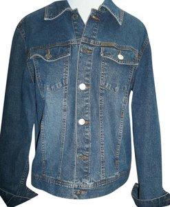 Calvin Klein Denim Western Cut Metal Buttons Front Flap Casual Womens Jean Jacket