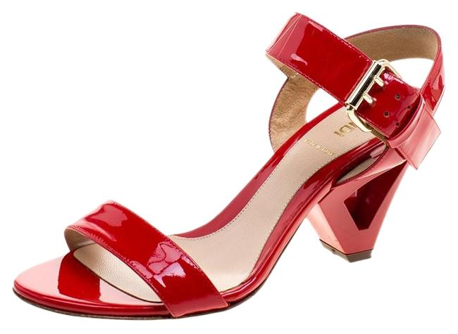Item - Red Patent Leather Ankle Strap Sandals Size US 5.5 Regular (M, B)