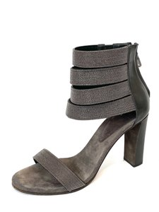 Brunello Cucinelli Beaded Block Embellished Gray Sandals