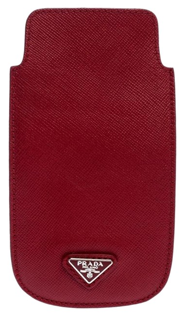 Item - Red Saffiano Leather Iphone Case Tech Accessory