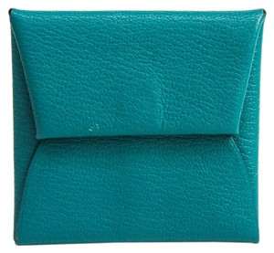 Hermes Hermes Bastia Chevre Leather Coin Purse/coin Case Blue Paon