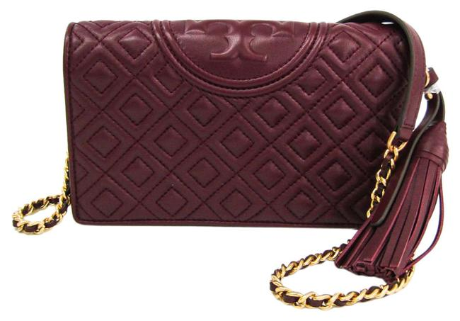 Tory Burch Fleming Wallet Quilting Style 50263 Women's Bordeaux Leather Shoulder Bag Tory Burch Fleming Wallet Quilting Style 50263 Women's Bordeaux Leather Shoulder Bag Image 1