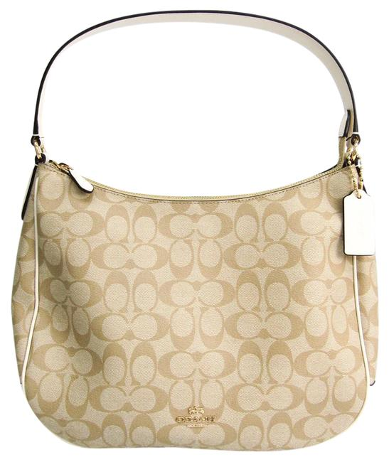 Coach Hobo Signature Zip F29209 Women's Brown / Light Beige / Off-white Coated Canvas / Leather Shoulder Bag Coach Hobo Signature Zip F29209 Women's Brown / Light Beige / Off-white Coated Canvas / Leather Shoulder Bag Image 1