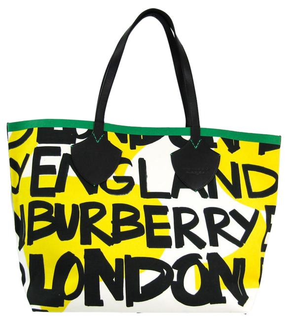 Burberry Graffiti Bag Print 4075825 Unisex Black / Green / White / Yellow Canvas / Leather Tote Burberry Graffiti Bag Print 4075825 Unisex Black / Green / White / Yellow Canvas / Leather Tote Image 1