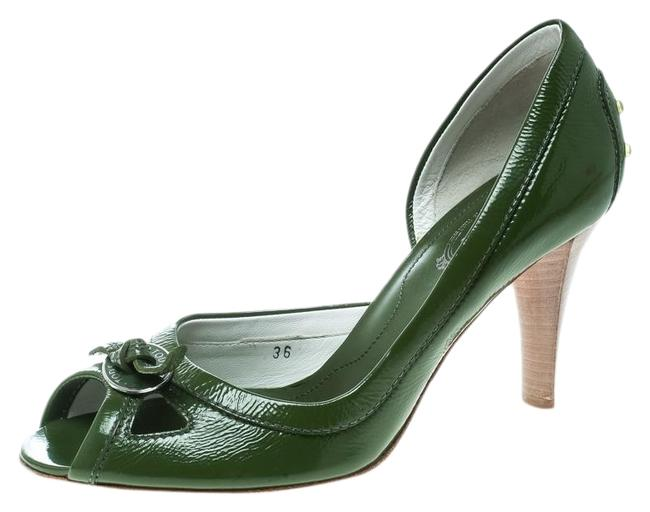 Tod's Green Olive Leather D'orsay Pumps Size US 5.5 Regular (M, B) Tod's Green Olive Leather D'orsay Pumps Size US 5.5 Regular (M, B) Image 1