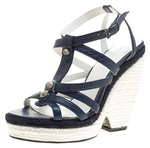 Balenciaga Leather Espadrille Wedge Blue Sandals