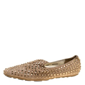 Jimmy Choo Suede Crystal Studded Rubber Leather Beige Flats