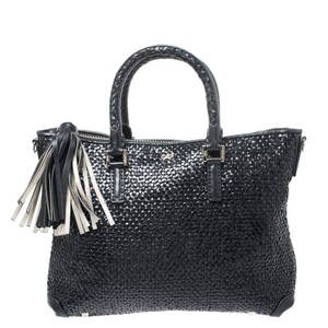 Anya Hindmarch Leather Woven Tote in Black