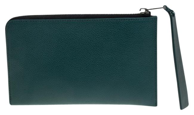 Burberry Italy Green Leather Clutch Burberry Italy Green Leather Clutch Image 1