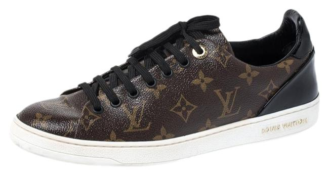Item - Brown Monogram Canvas and Black Patent Frontrow Low Top Sneakers Size US 9 Regular (M, B)