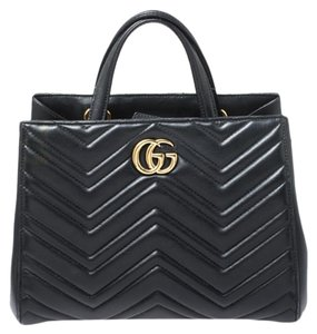 Gucci Leather Suede Tote in Black