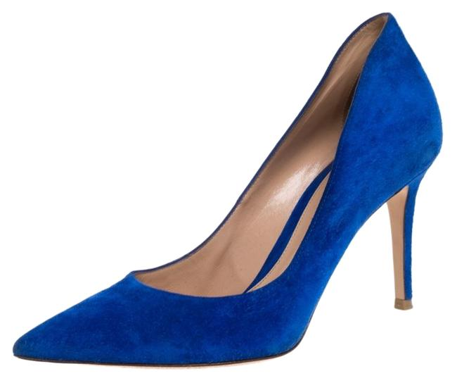 Gianvito Rossi Blue Suede Pointed Pumps Size US 8.5 Regular (M, B) Gianvito Rossi Blue Suede Pointed Pumps Size US 8.5 Regular (M, B) Image 1