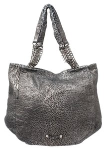 Jimmy Choo Leather Silver Tote in Black
