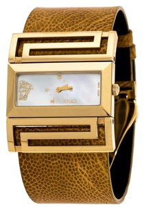 Versace Gold Plated Stainless Steel Leather VSQ90 Women's Wristwatch 38 mm