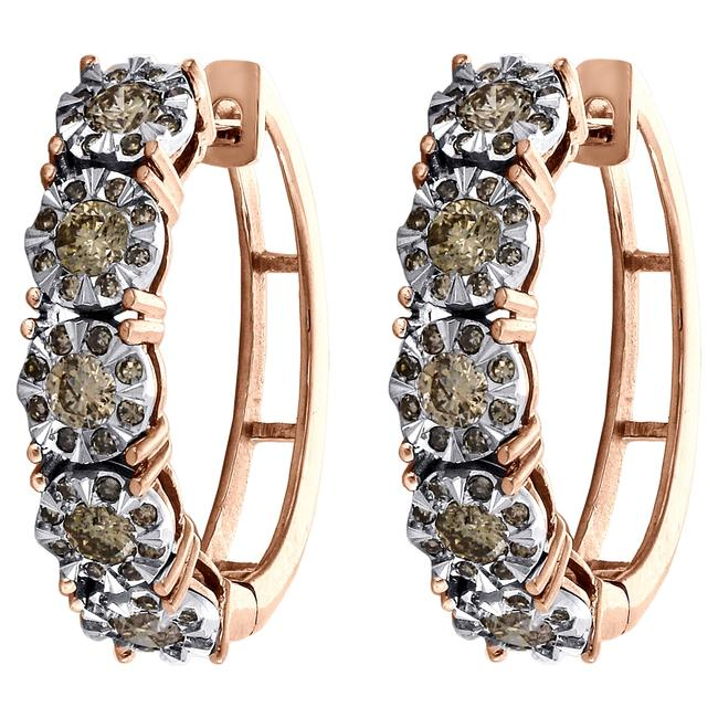 Jewelry For Less Rose Gold 10k Miracle Set Brown Diamond Flower Hoop Ct. Earrings Jewelry For Less Rose Gold 10k Miracle Set Brown Diamond Flower Hoop Ct. Earrings Image 1
