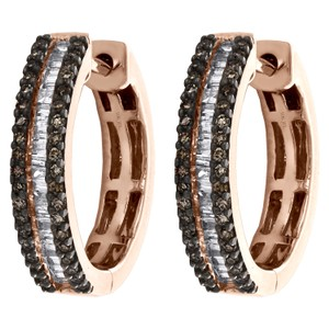 Jewelry For Less 10K Rose Gold Round & Baguette Brown Diamond Tier Hoop Earrings 1/2 CT