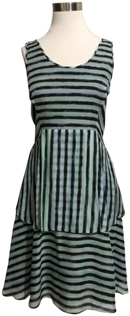Theory Green Blue Black Striped Ruffle Mid-length Short Casual Dress Size 8 (M) Theory Green Blue Black Striped Ruffle Mid-length Short Casual Dress Size 8 (M) Image 1