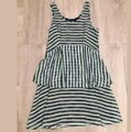 Theory Green Blue Black Striped Ruffle Mid-length Short Casual Dress Size 8 (M) Theory Green Blue Black Striped Ruffle Mid-length Short Casual Dress Size 8 (M) Image 2