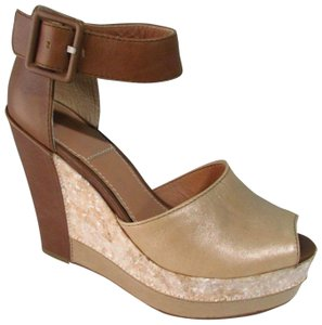 Bacio 61 Leather Color Block Beige/Brown Wedges