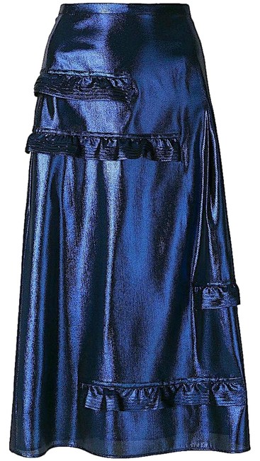 Item - Blue with Tag Merse Metallic Ruffle Skirt Size 2 (XS, 26)