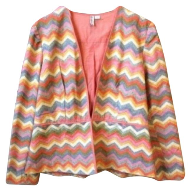 Item - Pink Orange Bl-nk London Valeska Chevron Print Blazer Size 12 (L)