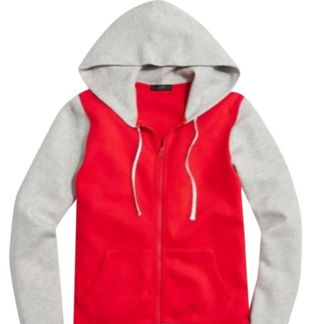J.Crew Red L And Gray Zip Hoodie Activewear Top Size OS J.Crew Red L And Gray Zip Hoodie Activewear Top Size OS Image 1