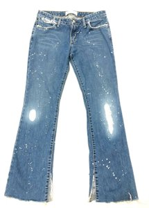 Paper Denim & Cloth Splashed Paint Boho Festival Flare Leg Jeans-Acid