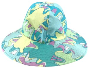 Emilio Pucci Turquoise, Yellow, Mint Printed Cotton Sunhat