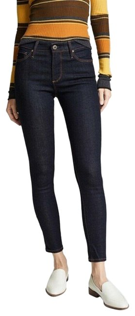 Item - Blue Dark Rinse W The Farrah Hrise Ankle Admiral Cotton W/Stretch Skinny Jeans Size 24 (0, XS)
