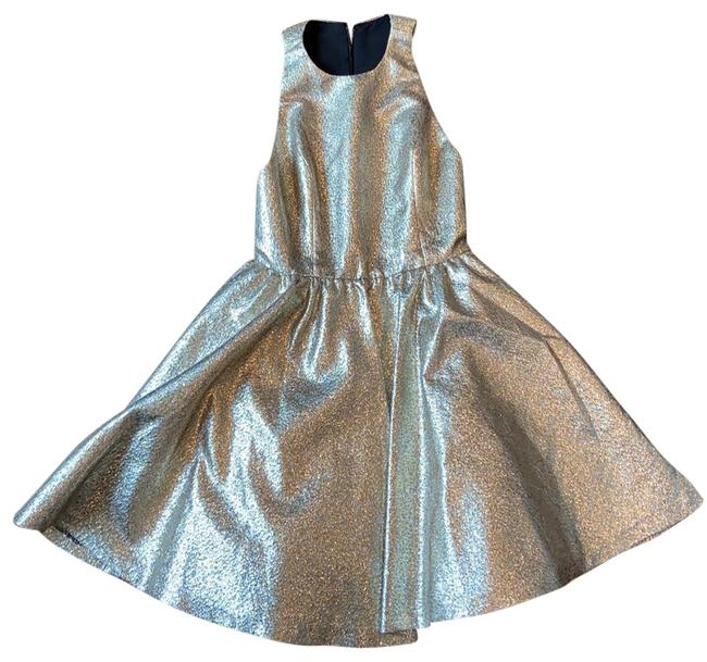 Item - Gold and Silver Mid-length Cocktail Dress Size 4 (S)