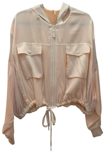 Item - White/Creamsicle Mixed Mesh Activewear Outerwear Size 2 (XS)