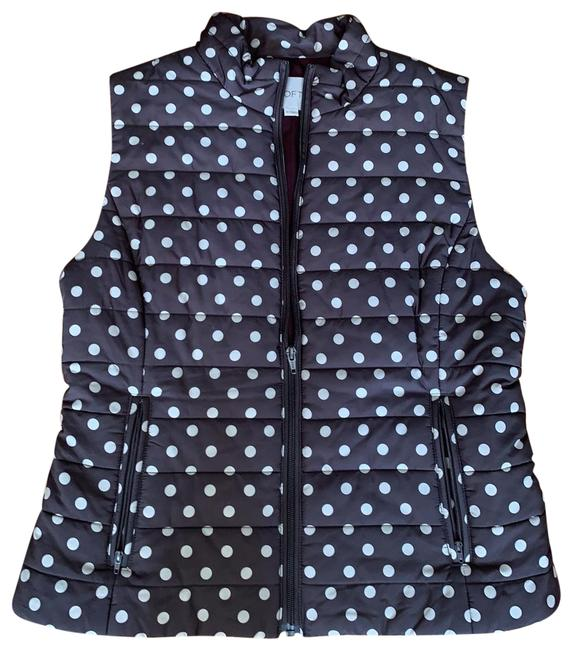 Item - Gray with Off White Polka Dots Zippered Quilted Vest Size 8 (M)