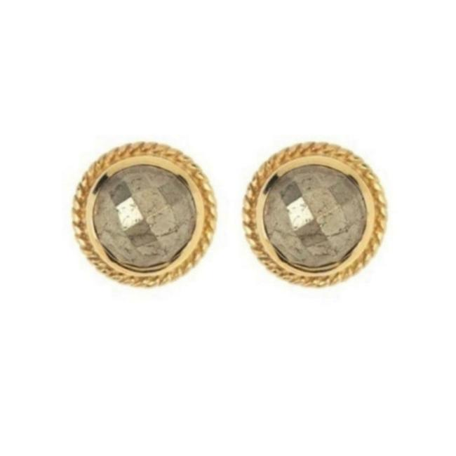 Item - Pyrite Gold Plated Studs Earrings