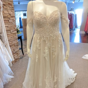Stella York Ivory/Sable/Porcelain Tulle and Lace D2537 Traditional Wedding Dress Size 16 (XL, Plus 0x)