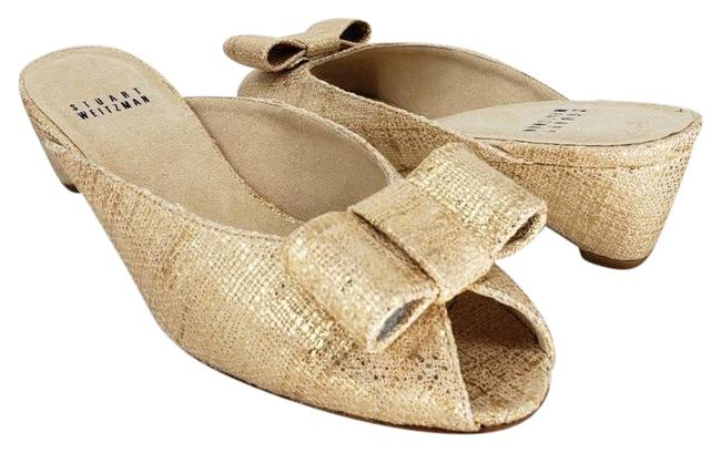 Item - Cream Gold Candy Woven Peep-toe Bow Slide Pumps Size US 6 Regular (M, B)