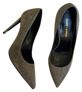Saint Laurent Glitter Pointed Classic Party Metallic Silver Gray Pumps