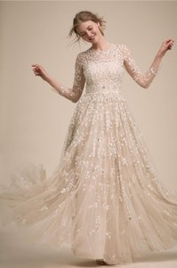 BHLDN Champagne Golden Hour Feminine Wedding Dress Size 12 (L)