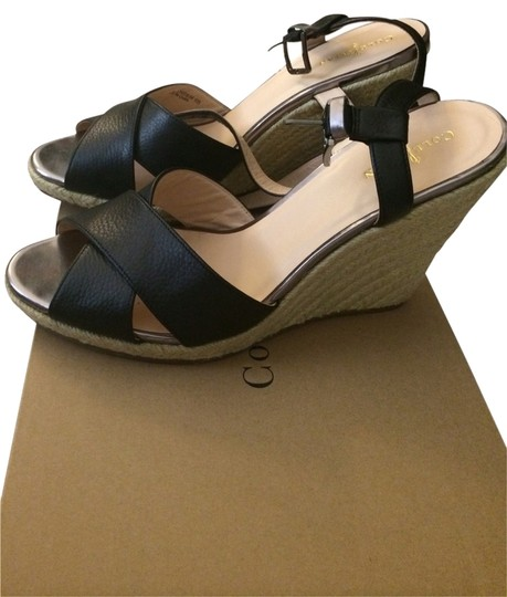 Cole Haan Black Espadrille Wedges