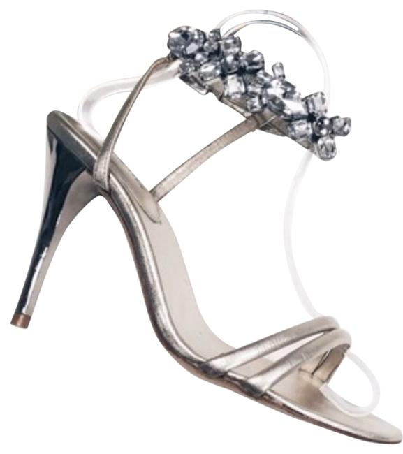Item - Silver Jeweled Metallic Sandals Size EU 38 (Approx. US 8) Regular (M, B)