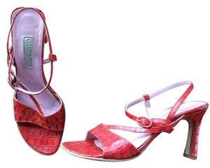 Kenneth Cole Leather Crocodile Printed Red Orange Sandals