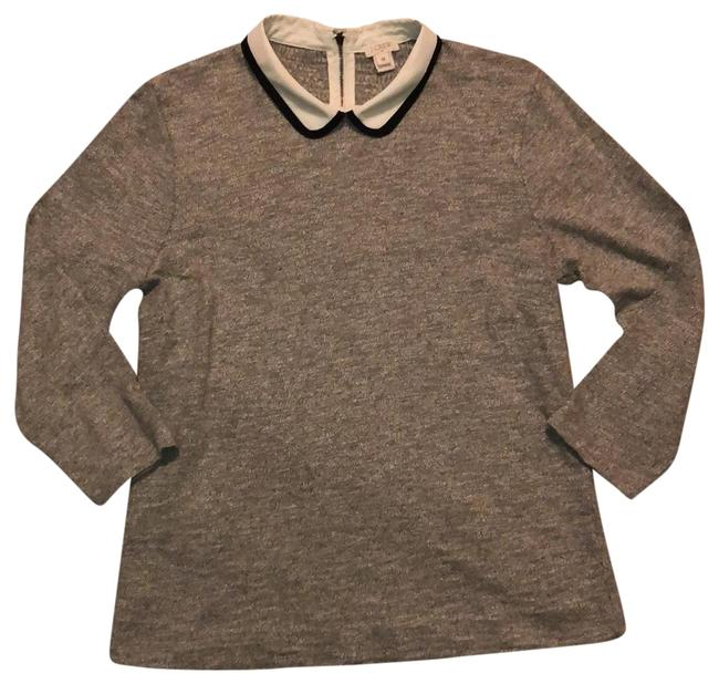 J.Crew Gray with White and Black Peter Pan Collar Tunic Size 10 (M) J.Crew Gray with White and Black Peter Pan Collar Tunic Size 10 (M) Image 1