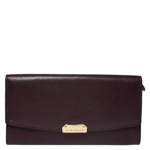 Burberry Burgundy Leather Continental Wallet
