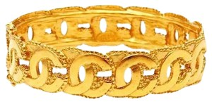 Chanel Authentic Chanel Vintage Gold Plated CC Hinged Bangle