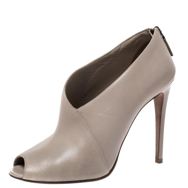Item - Grey Leather Asymmetric Peep Toe Ankle Boots/Booties Size US 7.5 Regular (M, B)