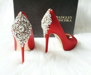 Badgley Mischka Red Kiara Peep Toe Platform Crystal Heel Satin Pumps Size US 5.5 Regular (M, B)